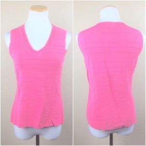 Cable & Gauge Sleeveless Pink V Neck Top